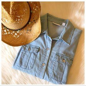 Vintage-Wash Denim Button Up Shirt
